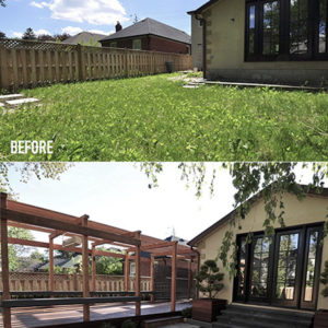 2 side by side photos taken from the same angle showing the Before and After transformation of this outdoor living space.