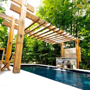 Table and chairs beside swimming pool. Lush forest in background. timber pergola spans across middle of swimming pool linking fountain.