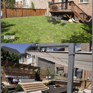 A photo of a backyard with fence, lawn and walkout balcony and below a photo from same position after it was transformed into an outdoor living space