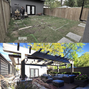 A before and after photo of this Rosedale backyard taken from the same angle shows the dramatic transformation of space.