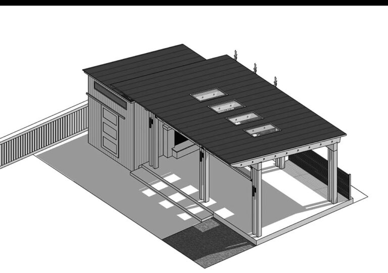 Aerial view black and white SketchUp rendering of pavilion shed.
