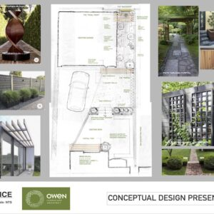 Presentation drawing of landscape concept plan for small back yard.