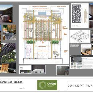 Colour final Landscape Plan for an Islington Townhouse Deck Lounge.