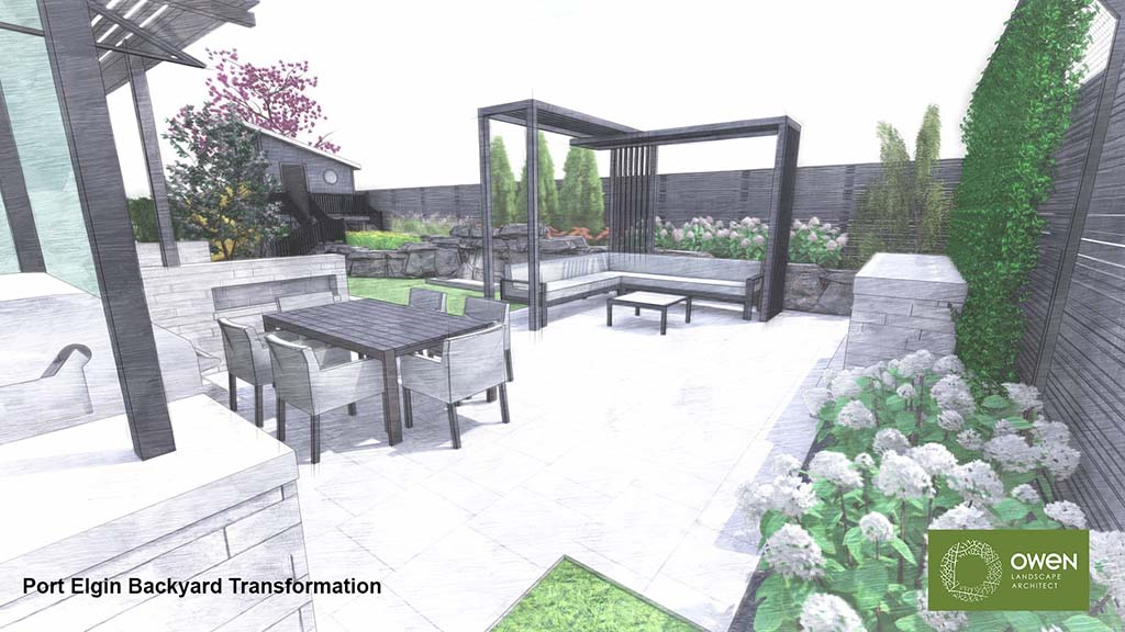 Patio with dining table and sectional beneath pergola