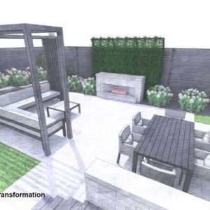 Outdoor living patio in back corner of garden centres on a fireplace feature.