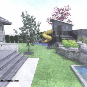 Backyard raised playhouse with tunnel slide set into tiered rock garden.