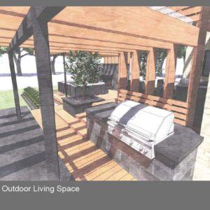View across deck grill beneath pergola towards fireplace lounge.
