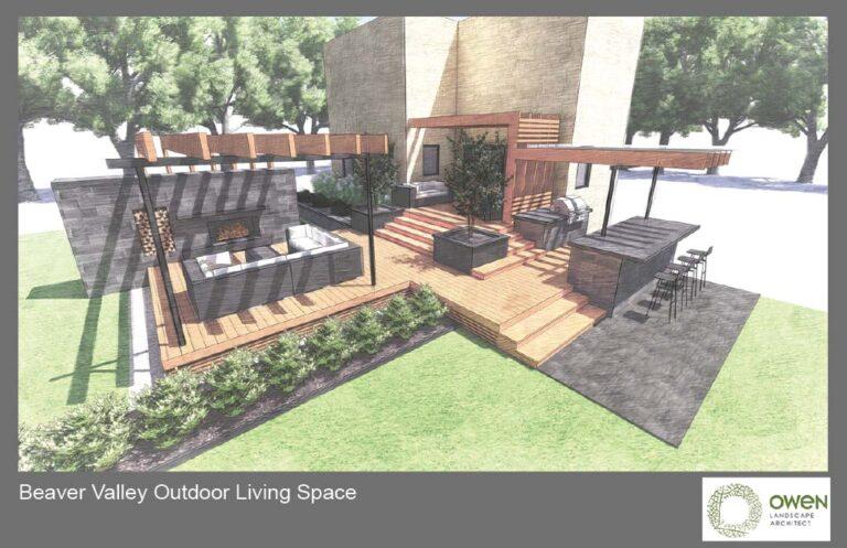 Multilevel deck with outdoor living amenities.