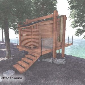 Elevated sauna cantilevers over rocky shoreline.
