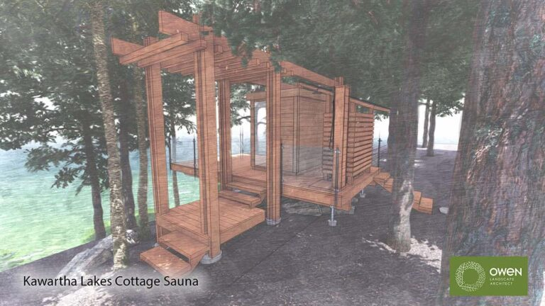 Lakeside sauna set in the forest.