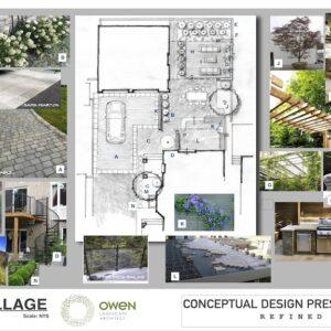 Presentation drawing of landscape concept plan for a Danforth Village backyard.