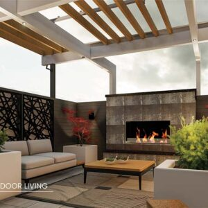 Planters frame the outdoor fireplace seating area.
