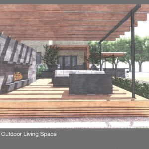 Sectional on deck beneath pergola in front of freestanding wall with fireplace.