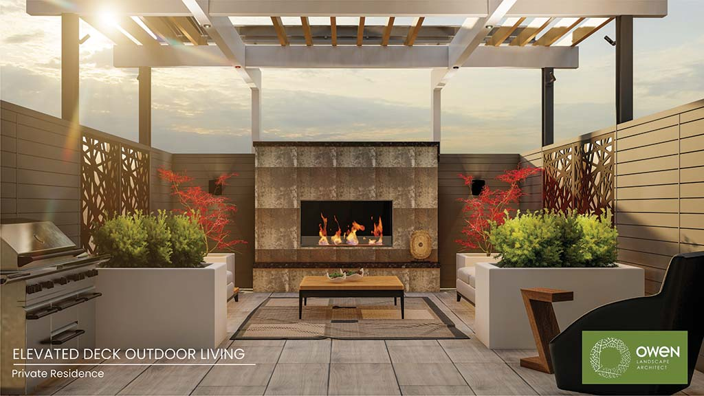 Rendering of deck lounge with two sofas centred around an outdoor fireplace.