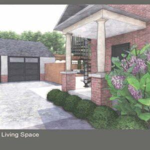 Cobblestone driveway garage screen separates garden.