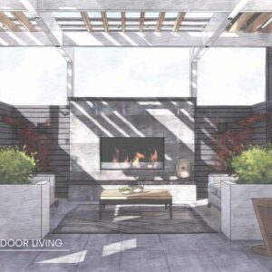Rendering of deck lounge with fireplace beneath pergola.