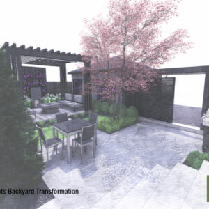 Small garden with pergola seating area and patio.