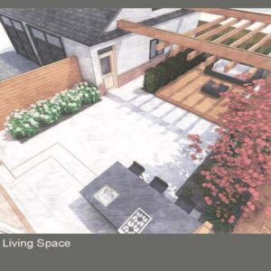 Backyard outdoor living space with pergola over the deck podium lounge.