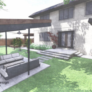 Two couches on small patio beneath tilted roof opposite the backyard entrance landing and steps.