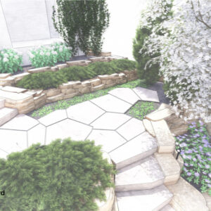 Front entrance rock garden and steps.