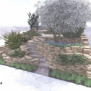 Rock garden with curving steps and planting pockets.