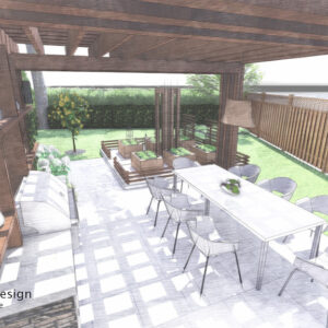 View looking sideways through outdoor dining pergola towards small enclosed vegetable garden.