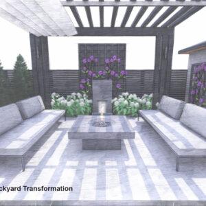 Pergola seating patio with recirculating fountain backdrop.
