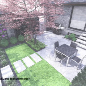 Lawn strip separates walkout dining patio from lounge area.