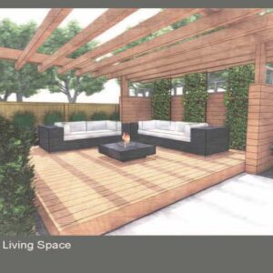 Vine covered trellis panels create privacy for deck podium lounge area in garden.