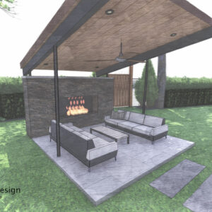 A tilted cantilevered roof supported by slender posts provides shelter for outdoor fireplace seating.