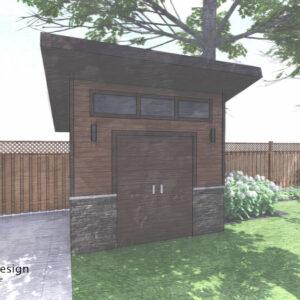 Modern shed sits off back corner of house off of fence line.