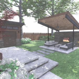 Garden pavilion with fireplace and 2 couches, it's tilted roof gesturing to the house entrance.