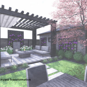 A path connects to a lounge area set beneath a modern pergola at the back of the garden.