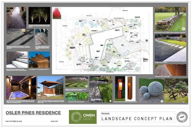 Presentation drawing of landscape concept plan for Osler Pines house.