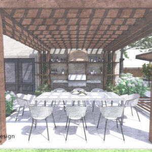 Pergola set against the back wall of house with grilling station and shelves and a dining table.