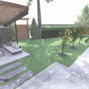 Outdoor fireplace pavilion within backyard with path to vegetable garden.