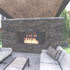 Couches face each other in front of covered outdoor fireplace patio.