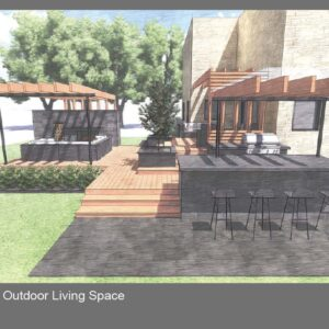 Matching modern pergolas over bar and lounge areas of deck.