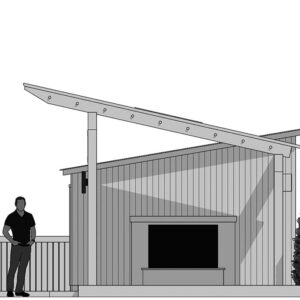 Cross section view black and white SketchUp rendering of pavilion shed.