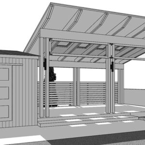 Left angle view black and white Sketchup rendering of pavilion shed.