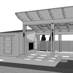 Right angle view black and white SketchUp rendering of pavilion shed.