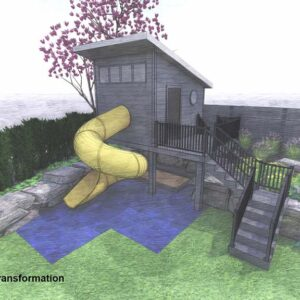 Elevated playhouse allows for play area beneath and tunnel slide.