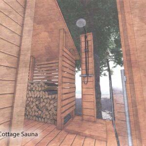 Backside of sauna has shower and wood storage.