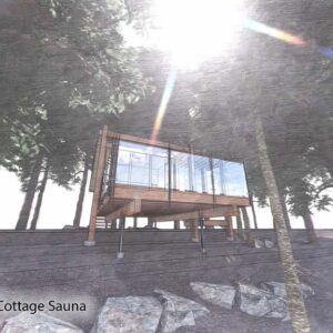 Sauna and deck are elevated off of the ground.