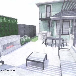 A view from seating alcove across patio towards the house.