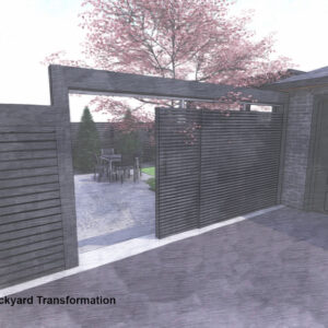 Modern sliding gate spans between garage and house opening to garden.