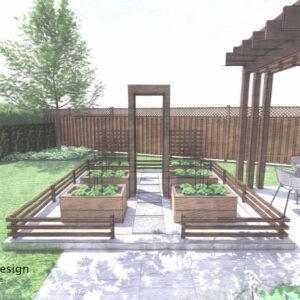 Short rail fence encloses a small raised planter vegetable garden.
