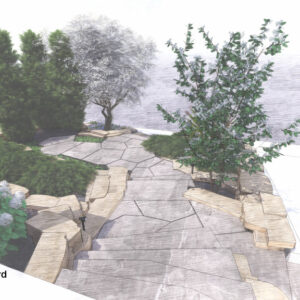 Stone steps flank tiered gardens to small flagstone terrace.