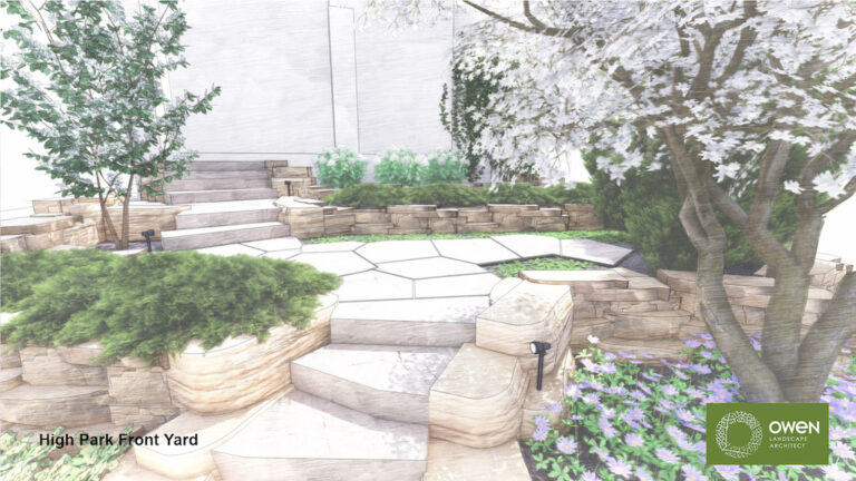 Stone steps and tiered rockery plantings lead to entrance.