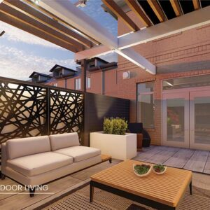 Townhouse elevated deck outdoor living.